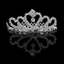 Flower Girls Bridal Crystal Tiara Rhinestone Crown w/ Comb Pin for Wedding Party