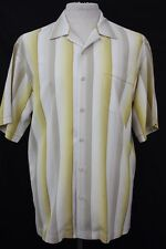 Tommy Bahama Size Large Men's Short Sleeve Button Down Stripe Pattern Silk Shirt