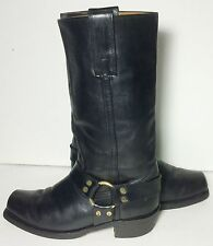 Frye Vintage Harness Black Leather Motorcycle Riding Biker Boots Men's Size 9 D