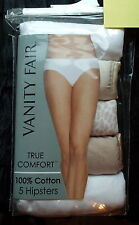 Size 5 Vanity Fair Set of 5 Hipster Panties NEW in Pack True Comfort Cotton Tan