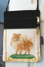 Pomeranian Designer Fabric & Black Cotton Velveteen Double-Zip Flat Shoulder Bag