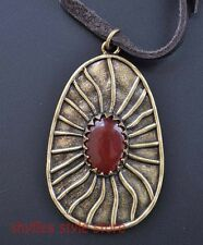 Lucky Brand Necklace Red Carnelian Modern Pendant Teardrop Leather Cord Antiqued