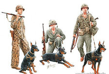 Dogs in Service in US Marine Corps, WWII era.   1/35 Master Box  # 35155