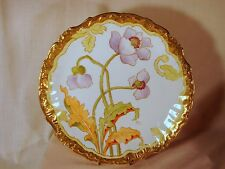 Old Limoges France Hand Painted Signed 12in Charger Plate Gold Trimmed Exclnt Cn
