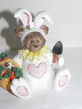 """Estate=4"""" Tall Resin Bear dressed as an Easter Bunny with Basket of Carrots LOOK"""
