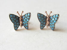 UNIQUE TURQUOISE TURKISH ROSE GOLD PLT. 925K STERLING SILVER EARRINGS BUTTERFLY