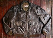 VTG EXCELLED BROWN LEATHER BOMBER FLIGHT JACKET PILOT MOTORCYCLE USA XL 46R
