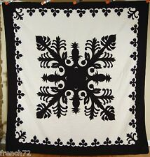 GORGEOUS Black & White Hawaiian Pineapple Cutout Applique Quilt ~NICE BORDER!