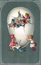 Easter greetings Children Playing In and Around Big Egg Embossed Postcard