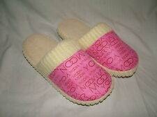 soft towelling pink or blue large womens shower slippers   7 -8
