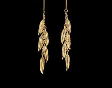 *CKstella* Dancing Feather GP Gold Threader 14K Gold Vermeil Ear Thread Earrings