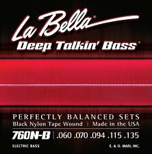 LA BELLA 760N-B BLACK NYLON TAPE WOUND BASS STRINGS 5'S- 760N-B 60-135