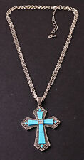 STRIKING THICK CHAIN CHOKER CHUNKY SPARKLING SILVER/BLUE CROSS PENDANT (SR)