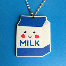 Happy Milk Necklace Cute Kawaii Fun Kitsch Quirky Jewellery Anime Japan