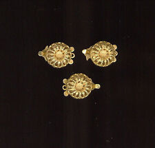 3 - 24K Gold Plated Beadable 1-Str Clasps To Match Haskell Stampings 13mm #911