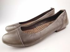 TARYN ROSE Pewter Black Spotted Leather Ballet Flats Shoes Sz 7