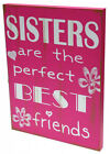 Hot Pink Sisters Are The Best Friends Wall Deco Wooden Sign .. Home Decor