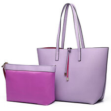 Ladies PU Leather Large Reversible Contrast Tote Shoulder  Bag Two In One