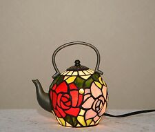 Stained Glass Tiffany Style Tea Pot Kettle Teapot Night Light Table Lamp.