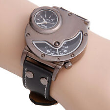 Fashion Men's Fashion Double Time Leather Band Sports Quartz Wrist Watch Black