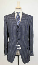 New. CANALI Blue Striped Linen 3 Roll 2 Button Suit Size 54/44 R Drop 6 $1650