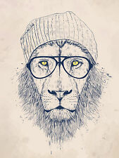 "Cool Lion Animal Hipster Poster Art Silk Wall Posters Prints 24x36"" CLION"