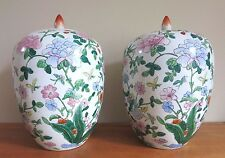 Pair of 19th C Fine Chinese Famille Rose Ginger Jars w Lids Qing Tongzhi Doucai