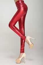 Sexy Metallic High-Waist Glanz Leggings Leggins Hose Leggin rot 34 36 XS S