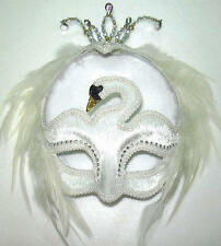 White Feather Swan Mask Masquerade Fancy Dress