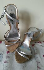 Lovely Cork and Silver High Heel Strappy Sandals 5  38 Worn Once