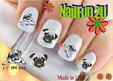"RTG Set#145 DOG BREED ""I love Pugs"" WaterSlide Decals Nail Art Transfers Salon"