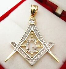 10K Yellow Solid Gold Masonic FreeMason Pendant Charm
