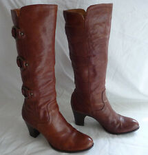 FRYE Womens Tall Boots Size 9M Brown Leather O-Rings Straps Slip On Fiona F0008