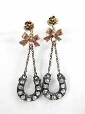 Lotta Styles Designer Betsy Johnson Horseshoe Bow Rose Crystal Dangle Earrings