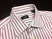 HUGO BOSS Mens 15.5 34/35 White Pink Burgundy Striped Long Sleeve Spread Shirt