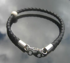 Genuine Black Leather 4mm Braided  Cord Bracelet with 925 Silver Ends Clasp