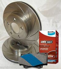SLOTTED PAIR FRONT DISC BRAKE ROTORS & BENDIX PADS for NISSAN NAVARA D40 320mm