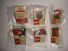 Set of 6 Coca-Cola 1992 Barcelona Olympic Games Metal Pins MINT in Original pack