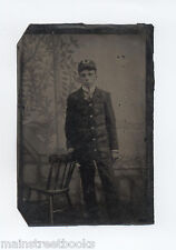 1870s TINTYPE SCHOOLBOY UNIFORM  MARCHING BAND  Fancy Gold Braided TROMPE L'OEIL