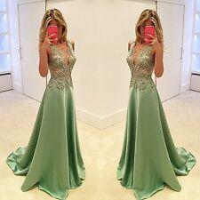 Neu Satin Spitze Applikation Brautkleider Hochzeitskleid Ballkleid Abendkleider
