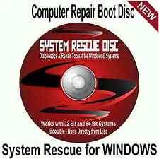 System Rescue Boot Disc Repair Recovery WINDOWS 10 8 7 Fix Computers PC Laptops