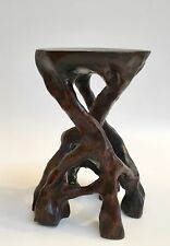 Carved wood root stand for bonsai display
