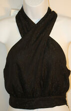 Womens Ladies Bebe Black Silver Thread Halter Top Size Small