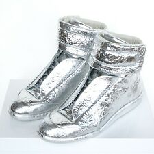 MAISON MARTIN MARGIELA metallic silver shoes high top Future sneakers 46 NEW