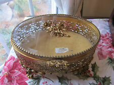 VINTAGE GOLD FILIGREE ORMOLU OVAL JEWELRY CASKET TRINKET BOX GLASS TOP