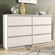 Modern White Chest of Drawers - 6 Drawers Bedroom Furniture Cabinet   Sideboard