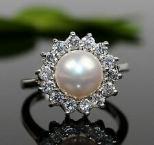 Genuine Freshwater Cultured Pearl & Silve Ring  ( White   7-9#)0011
