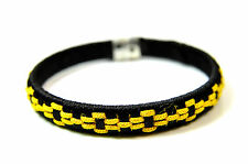ELEGANT CHUNKY BLACK YELLOW MULTI LAYER BRACELET COOL RETRO (ST51)
