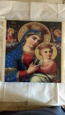 Virgin St. Mary icon hanging wood picture, perfect gift, Handcrafted etched wood