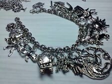 Game of Thrones inspired charm bracelet 21 Tibetan silver charms dragon direwolf